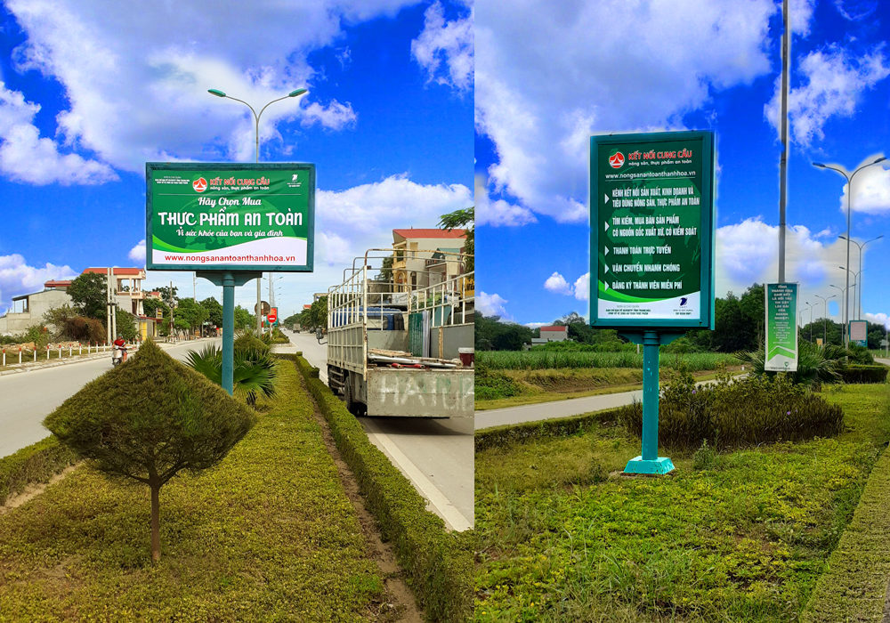 Tuyên truyền an toàn thực phẩm trên biển hộp đèn tuyến đường QL47 Sầm Sơn, đi sân bay Thọ Xuân