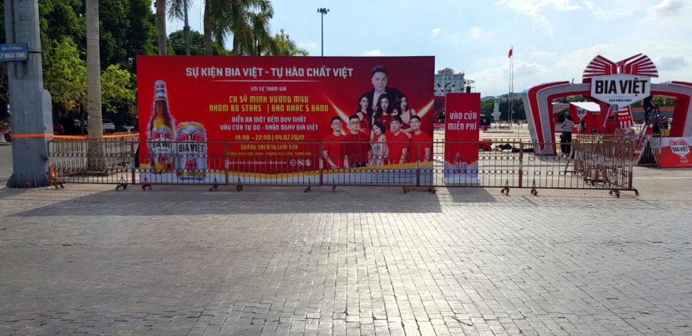 Backdrop Sự kiện Bia Việt tổ chức tại quảng trường Lam Sơn